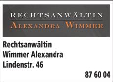 Anzeige Rechtsanwältin Wimmer Alexandra