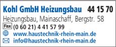 Anzeige Kohl GmbH Heizungsbau