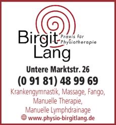 Anzeige Krankengymnastik Lang Birgit