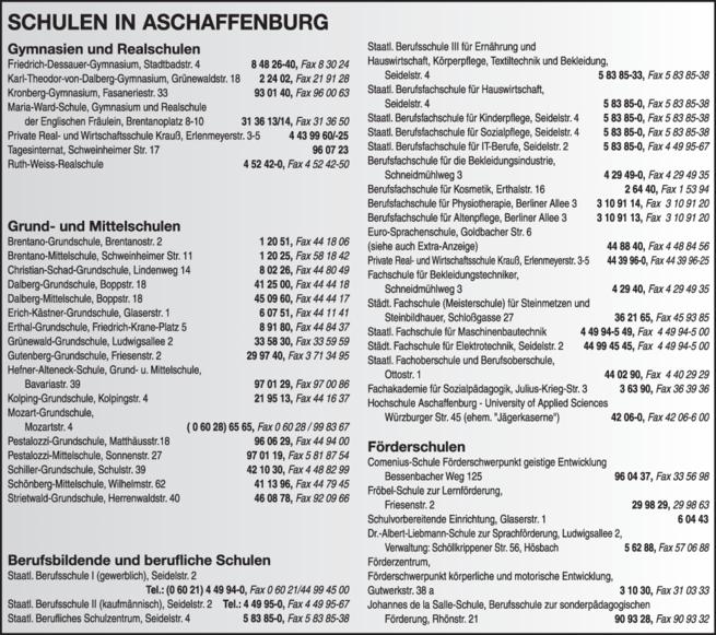 Anzeige Schulen in Aschaffenburg