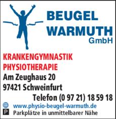 Anzeige BEUGEL-WARMUTH GmbH Krankengymnastik