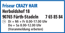 Anzeige Friseur CRAZY HAIR