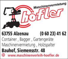 Anzeige Maschinenvermietung Höfler Lothar