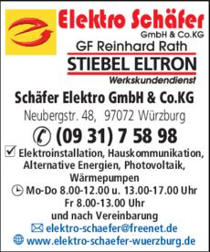Anzeige Schäfer Elektro GmbH & Co. KG
