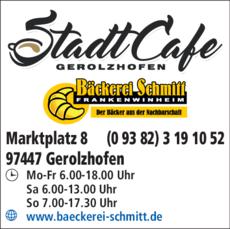 Anzeige Stadtcafe - Bäckerei Schmitt