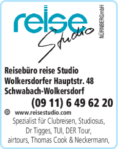Anzeige Reisebüro reise Studio
