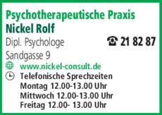 Anzeige Psychotherapeutische Praxis Nickel Rolf