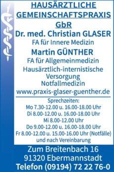 Anzeige Glaser Dr.med. Christian, Günther Martin