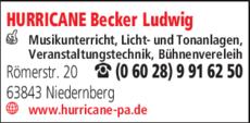 Anzeige HURRICANE Becker Ludwig