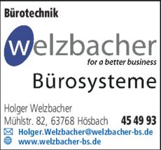 Anzeige Bürotechnik Welzbacher Bürosysteme