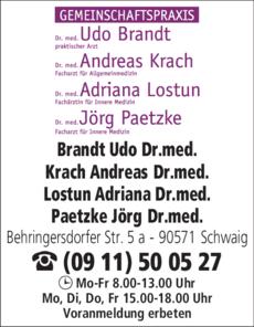 Anzeige Gemeinschaftspraxis Paetzke J., Krach A., Lostun L., Brandt U. Dres.med.