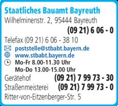 Anzeige Staatliches Bauamt Bayreuth