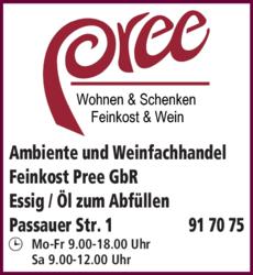 Anzeige Ambiente und Weinfachhandel Musik Pree GbR