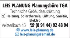 Anzeige LEIS PLANUNG Planungsbüro TGA