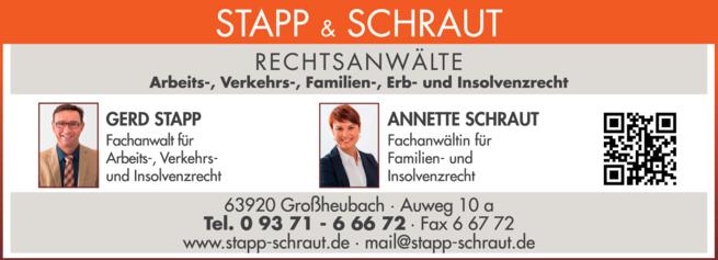 Anzeige Rechtsanwälte Stapp + Schraut