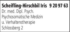 Anzeige Scheifling-Hirschbil Iris Dr. med. Dipl. Psych.