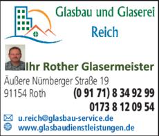 Anzeige Glasbau und Glaserei Reich