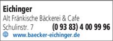 Anzeige Eichinger Harald Alt Frankische Bäckerei