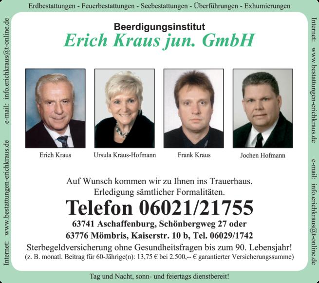 Anzeige Beerdigung Erich Kraus jun. GmbH