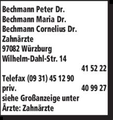 Anzeige Bechmann Peter Dr., Bechmann Maria Dr., Bechmann Cornelius Dr.