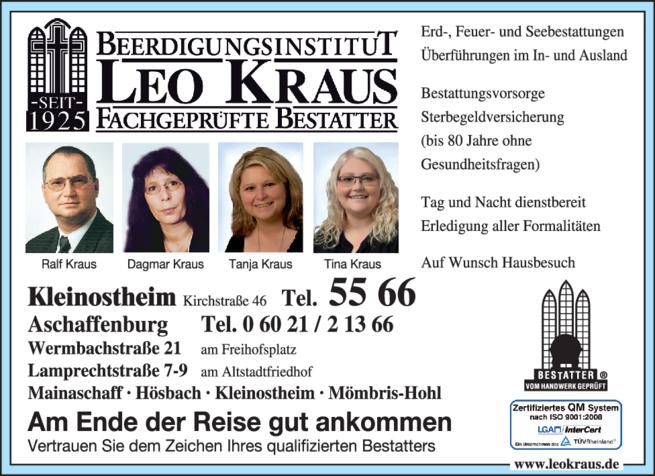 Anzeige Beerdigung Dagmar u. Ralf Beerdigungsinstitut Leo Kraus GmbH