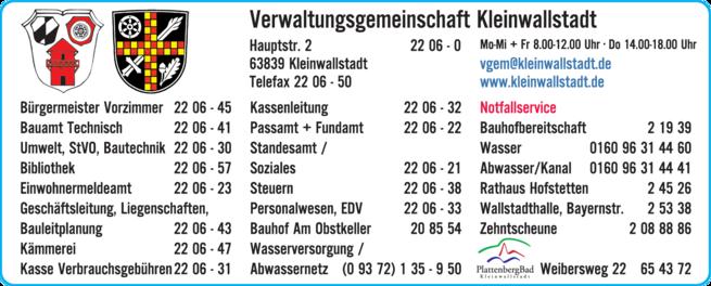 Anzeige Verwaltungsgemeinschaft, Kleinwallstadt