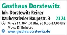Anzeige Gasthaus Dorstewitz