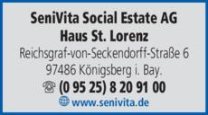 Anzeige Altenpflege + Seniorenhäuser SeniVita