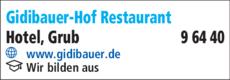 Anzeige Gidibauer-Hof Restaurant