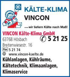 Anzeige Klima- Kälte VINCON