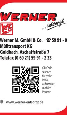 Anzeige Werner M. GmbH & Co. Mülltransport KG