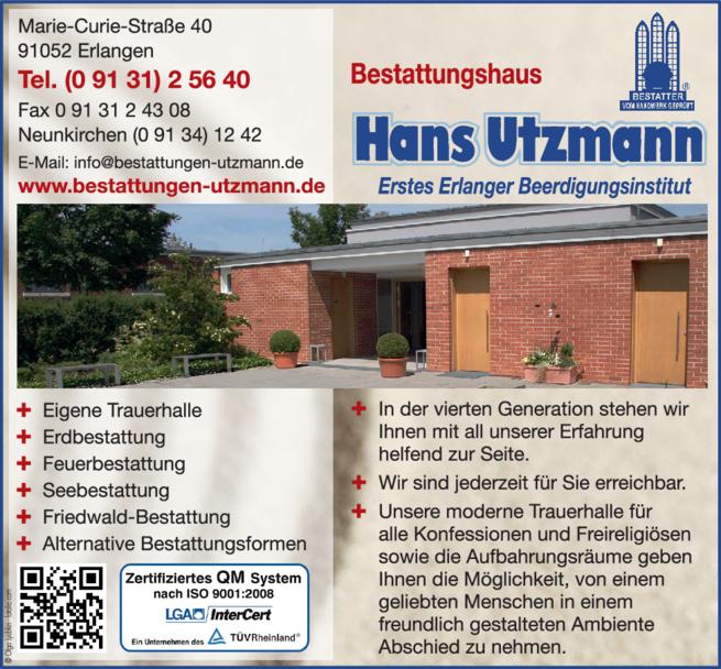 Anzeige Bestattungen Utzmann Hans