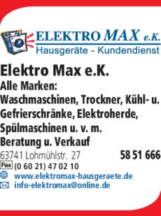 Anzeige Elektro Max e.K.