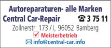 Anzeige Autoreparaturen Central Car-Repair