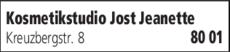 Anzeige Kosmetikstudio Jost Jeanette