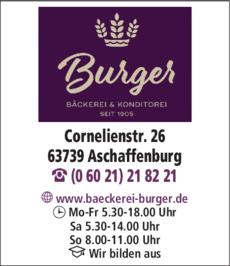 Anzeige Bäckerei & Konditorei Kurt Burger