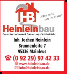 Anzeige Heinleinbau Bauunternehmen & Sanierungsfachbetrieb