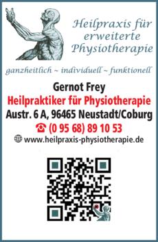 Anzeige Physiotherapie Frey Gernot