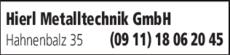 Anzeige Hierl Metalltechnik GmbH
