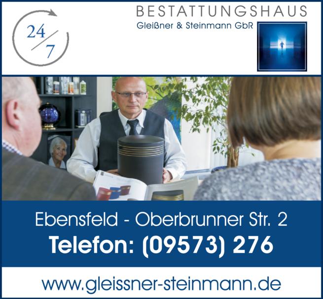 Anzeige Bestattungen Gleißner & Steinmann