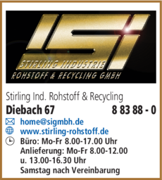 Anzeige Schrott - Recycling - Stirling Industrie Rohstoff & Recycling GmbH