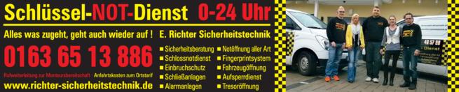 Anzeige Enrico Richter, Sicherheitstechnik - Schlüsseldienst & Detektei Richter u. Mohr