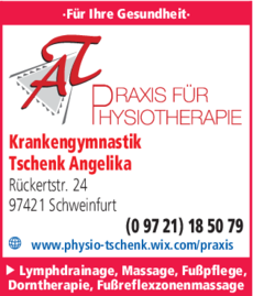 Anzeige Krankengymnastik Tschenk Angelika