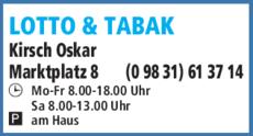 Anzeige Lotto & Tabak, Spielwaren Kirsch Oskar