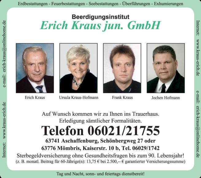 Anzeige Beerdigung Kraus Erich jun. GmbH