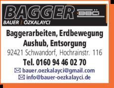 Anzeige Baggerbetrieb Bauer Özkalayci