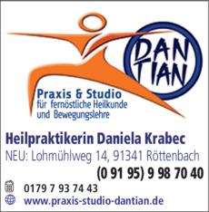 Anzeige DANTIAN Praxis und Studio, Heilpraktikerin Daniela Krabec
