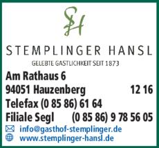 Anzeige Gasthof Zum Stemplinger Hansl
