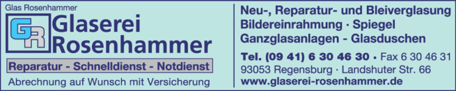 Anzeige Glas Glaserei Rosenhammer
