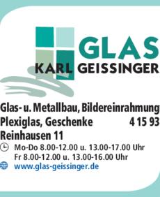Anzeige Glas Karl Geissinger GmbH